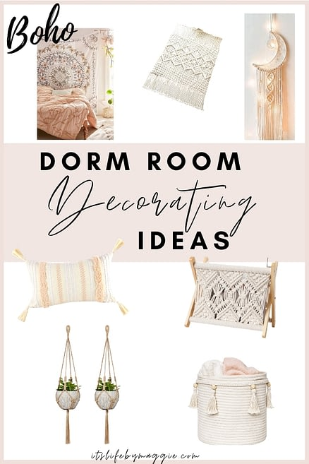 Boho themed dorm room ideas for college students to have the cutest dorm decor on the hall. Go to the post to see black and white themed dorm room ideas, rose gold dorm room ideas, plus dorm room ideas for bedding and tapestries! #dormroomideas #college #collegelife